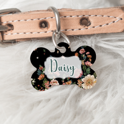 Personalised Dog Cat Pet ID Tag Double sided Floral Dog Tag