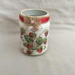 Strawberry Jar. Red Berry Home Decor Vase. Rustic  Kitchen Decor.