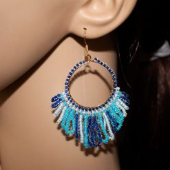 Beaded Hoop Earrings-Ocean Wave