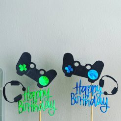 Gaming Controller Happy Birthday Cake Topper Blue Or Green