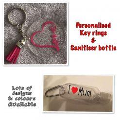Personalised Keyring & Sanitiser Bottle Set