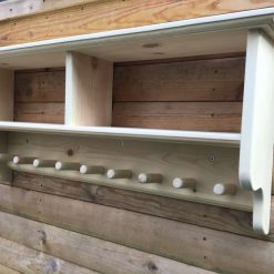 Shaker style shelf with coat hooks