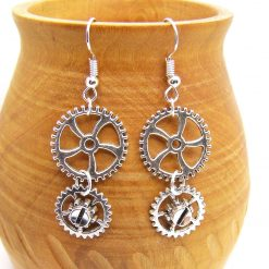 Steampunk Gear Earrings with Silver Colour Cogs on matching Ear Hooks, 3.5 cm Drop. Free UK Postage