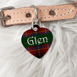 Personalised Dog Cat Pet ID Tag Double Sided Tartan Heart Shape Tag