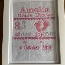 Embroidered and Framed Birth Announcement