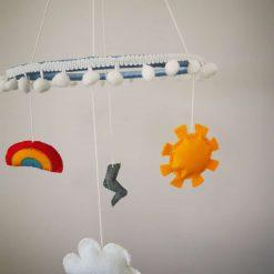 Hanging hoop mobile ornament handmade