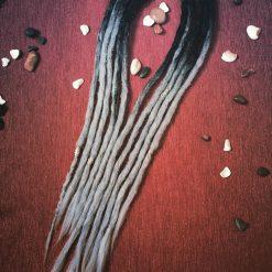 Handmade synthetic dreadlocks black silver