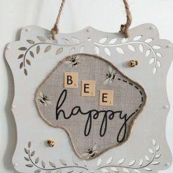 Cream Wooden 'Bee Happy' Hanging Wall Sign