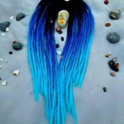 Handmade synthetic dreadlocks black blue ombre