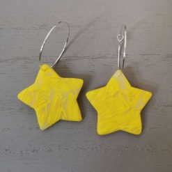 Funky Yellow Marble Effect Star Earrings On A Silver Plated Hook, Free UK Delivery