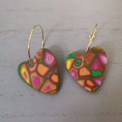 Funky Retro Heart Earrings On A gold Plated Hoop, Free UK Delivery