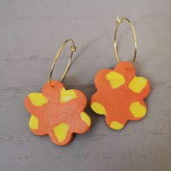 Large orange and yellow funky flower Earrings On A Gold Plated Hoop, Free UK Delivery 1