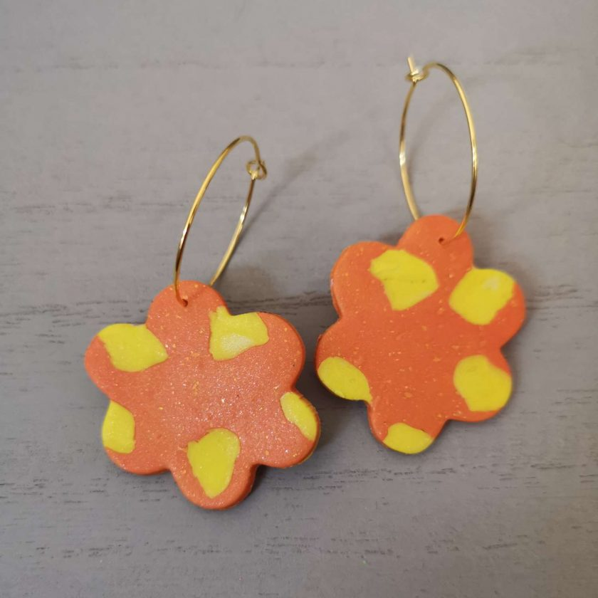 Large orange and yellow funky flower Earrings On A Gold Plated Hoop, Free UK Delivery