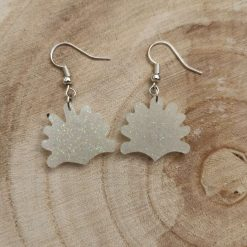 Cute white glitter Shell Earrings on a plated hook, Free UK Delivery