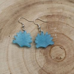 Cute sea blue Shell Earrings on a plated hook, Free UK Delivery
