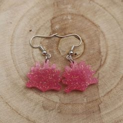 Cute pink Glittery Shell Earrings on a plated hook, Free UK Delivery