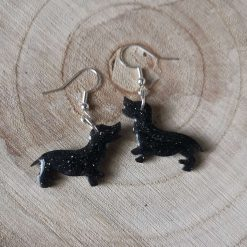 Black glitter Dashound Dog Earrings On a silver plated hook, lovely gift for a dog lover. Free UK delivery