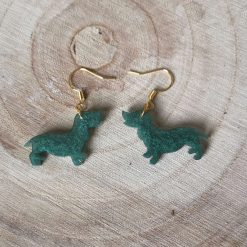 Green Dashound Dog Earrings On a gold plated hook, lovely gift for a dog lover. Free UK delivery