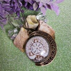 Tree Of Life and Vegvisir Cabochon Pendant