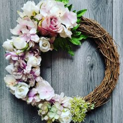 Beautiful artificial silk floweres door wreath