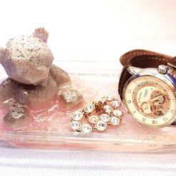 Epoxy resin memorial bear with ashes trinket tray (example) made to order