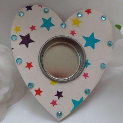 Multi-coloured Wooden Heart Shape Tea Light Holder