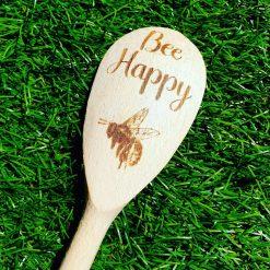 Bee happy wooden spoon