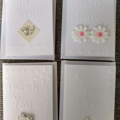4 x mini embossed note cards with envelopes