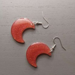 Dark Pink Glitter Earrings on a Silver plated Hook, Free UK Delivery