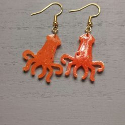 Funky Octopus Earrings in Orange Glitter on a gold plated hook Free UK Delivery