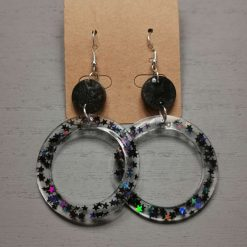 Black Glitter Drop Circle Earrings on a sterling Silver Hook, Free UK Delivery
