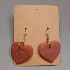 Bronze Heart Shape Earrings on a gold plated hook, Free UK Delivery
