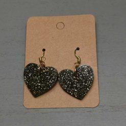 Black Glitter Heart Shape Earrings on a gold plated hook, Free UK Delivery