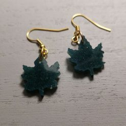 Forest Green Canadian Maple Leaf oEarrings on an gold plated hook, Free UK Delivery