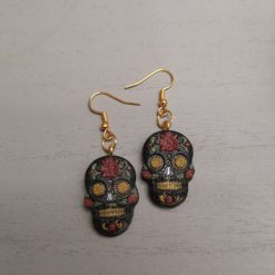 Day of the Dead Skull Earrings on a gold plated hook, Free UK Delivery