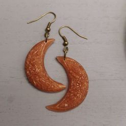 Bronze Ornate Moon Earrings on an antique plated hook, Free UK Delivery