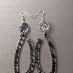 Black Ushape hoop with black Glitter Earrings on an silver plated hook, Free UK Delivery