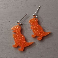 Orange Dinosaur t-rex Earrings on an silver plated Drop stud, Free UK Delivery