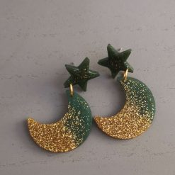 Green and Gold Glitter Moon And Stars Earrings on an silver plated back, Free UK Delivery
