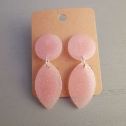 Baby Pink Drop Earrings on an silver plated stud, Free UK Delivery