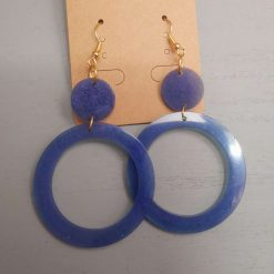 Cobalt Blue Drop Circle Earrings on a gold plated Hook, Free UK Delivery