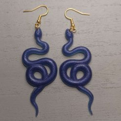Cobalt Blue Scale effect Curly Snake Earrings On a gold plated hook, Free UK Delivery