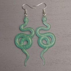 Bright Green Scale effect Curly Snake Earrings On a Silver plated hook, Free UK Delivery