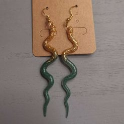 Gold and Green Uncoiled Snake Earrings On a gold plated hook, Free UK Delivery