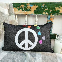 PEACE SIGN RAINBOW Love Cushion, Rectangle 50x30cm / 19x11inch, Handmade Black Cotton Jeans Cushion Cover