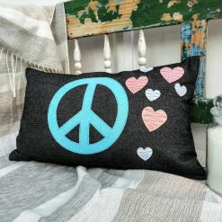 PEACE SIGN LOVE Cushion, Rectangle 50x30cm / 19x11inch, Handmade Black Cotton Jeans Cushion Cover