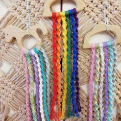 Macrame Rainbow wall hang wooden cloud pastal colours hand made