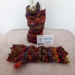 Ladies Hand Knitted Rainbow Fingerless Gloves