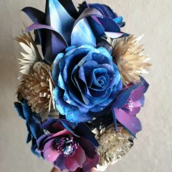 Galaxy and Book Page Paper Flower Bouquet OOAK