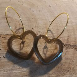 Bronze open Heart Shape Earrings on a gold plated hoop, Free UK Delivery